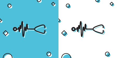 Black Stethoscope with a heart beat icon isolated on blue and white background. Medical concept. Pulse care symbol. Random dynamic shapes. Vector Illustration Ilustrace