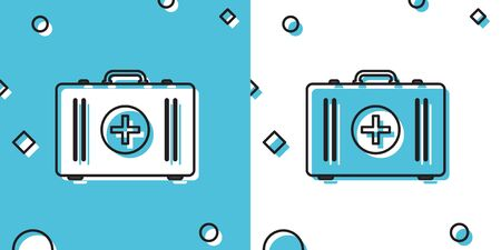 Black First aid kit icon isolated on blue and white background. Medical box with cross. Medical equipment for emergency. Healthcare concept. Random dynamic shapes. Vector Illustration
