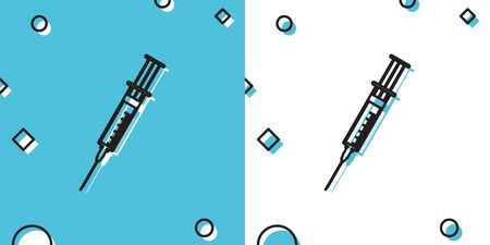 Black Syringe icon isolated on blue and white background. Syringe sign for vaccine, vaccination, injection, flu shot. Medical equipment. Random dynamic shapes. Vector Illustration Ilustrace