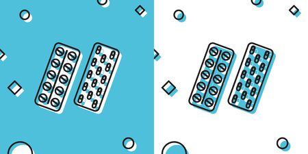 Black Pills or capsules in blister package icon on blue and white background. Tablets in package. Medications Accessory pharmacies and first aid kits. Random dynamic shapes. Vector Illustration
