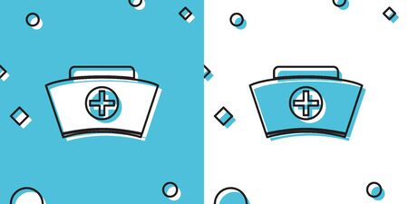 Black Nurse hat with cross icon isolated on blue and white background. Medical nurse cap sign. Random dynamic shapes. Vector Illustration