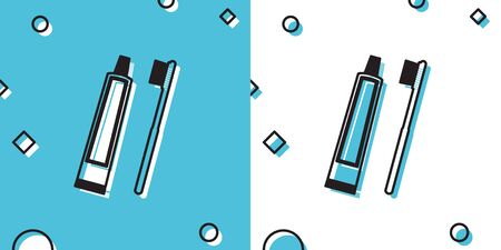 Black Tube of toothpaste and toothbrush icon isolated on blue and white background. Random dynamic shapes. Vector Illustration Ilustrace