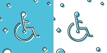 Black Disabled handicap icon isolated on blue and white background. Wheelchair handicap sign. Random dynamic shapes. Vector Illustration