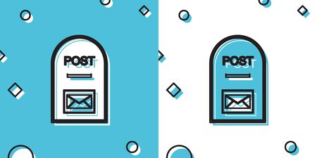 Black Mail box icon. Post box icon isolated on blue and white background. Random dynamic shapes. Vector Illustration