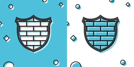 Black Shield with cyber security brick wall icon isolated on blue and white background. Data protection symbol.