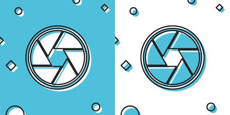 Black Camera shutter icon isolated on blue and white background. Random dynamic shapes. Vector Illustration