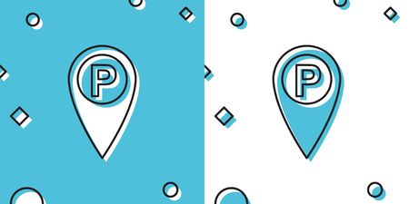 Black Map pointer with car parking icon isolated on blue and white background. Random dynamic shapes. Vector Illustration Illustration
