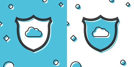 Black Cloud and shield icon isolated on blue and white background. Cloud storage data protection. Security, safety, protection, privacy concept. Random dynamic shapes. Vector Illustration