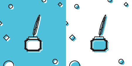 Black Feather and inkwell icon isolated on blue and white background. Random dynamic shapes. Vector Illustration