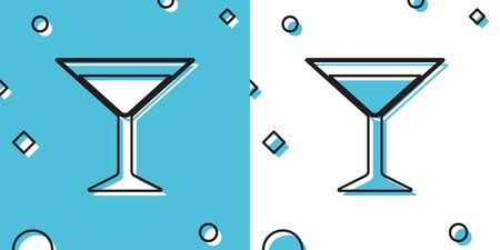 Black Martini glass icon isolated on blue and white background. Cocktail icon. Wine glass icon. Random dynamic shapes. Vector Illustration 向量圖像