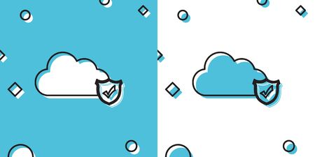Black Cloud and shield with check mark icon on blue and white background. Cloud storage data protection. Security, safety, protection, privacy concept. Random dynamic shapes. Vector Illustration