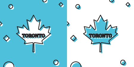 Black Canadian maple leaf with city name Toronto icon isolated on blue and white background. Random dynamic shapes. Vector Illustration