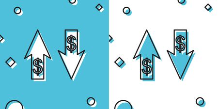 Black Up and Down arrows with dollar symbol icon isolated on blue and white background. Business concept. Random dynamic shapes. Vector Illustration