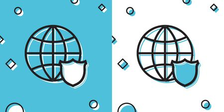 Black Shield with world globe icon isolated on blue and white background. Security, safety, protection, privacy concept. Random dynamic shapes. Vector Illustration