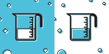 Black Measuring cup to measure dry and liquid food icon isolated on blue and white background. Plastic graduated beaker with handle. Random dynamic shapes. Vector Illustration