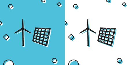 Black Wind mill turbines generating electricity and solar panel icon isolated on blue and white background. Energy alternative, concept of renewable energy. Random dynamic shapes. Vector Illustration