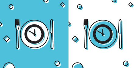 Black Plate with clock, fork and knife icon isolated on blue and white background. Lunch time. Eating, nutrition regime, meal time and diet concept. Random dynamic shapes. Vector Illustration