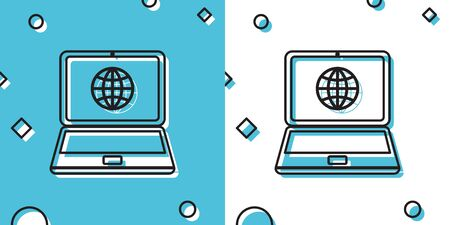 Black Globe on screen of laptop icon isolated on blue and white background. Notebook computer with globe sign. Random dynamic shapes. Vector Illustration