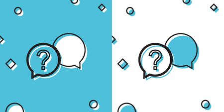 Black Chat question icon isolated on blue and white background. Help speech bubble symbol. FAQ sign. Question mark sign. Random dynamic shapes. Vector Illustration
