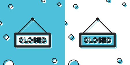 Black Hanging sign with text Closed door icon isolated on blue and white background. Random dynamic shapes. Vector Illustration