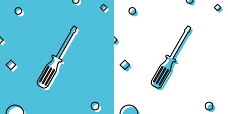 Black Screwdriver icon isolated on blue and white background. Random dynamic shapes. Vector Illustration