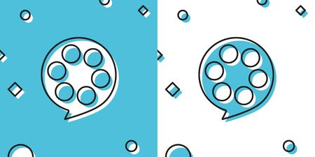 Black Film reel icon isolated on blue and white background. Random dynamic shapes. Vector Illustration