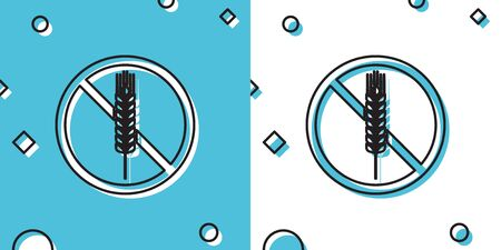 Black Gluten free grain icon isolated on blue and white background. No wheat sign. Food intolerance symbols. Random dynamic shapes. Vector Illustration