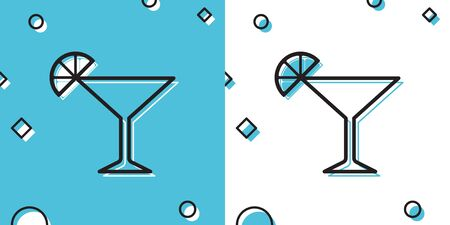 Black Martini glass icon isolated on blue and white background. Cocktail with lime symbol. Random dynamic shapes. Vector Illustration