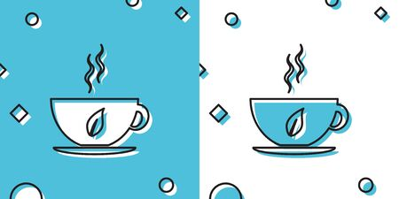 Black Cup of tea and leaf icon isolated on blue and white background. Random dynamic shapes. Vector Illustration