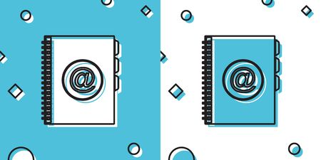 Black Address book icon isolated on blue and white background. Notebook, address, contact, directory, phone, telephone book icon. Random dynamic shapes. Vector Illustration