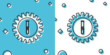Black Gear and test tube icon isolated on blue and white background. Cogwheel and flask sign. Experiment laboratory glass chemical research symbol. Random dynamic shapes. Vector Illustration