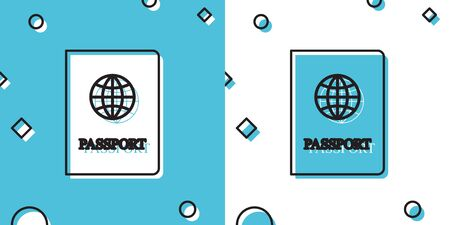 Black Passport with biometric data icon isolated on blue and white background. Identification Document. Random dynamic shapes. Vector Illustration