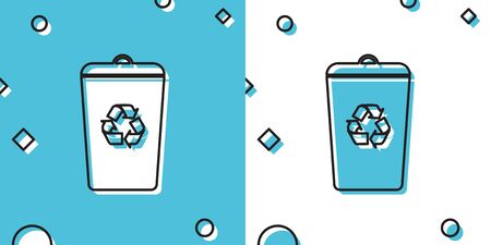 Black Recycle bin with recycle symbol icon isolated on blue and white background. Trash can icon. Garbage bin sign. Recycle basket sign. Random dynamic shapes. Vector Illustration