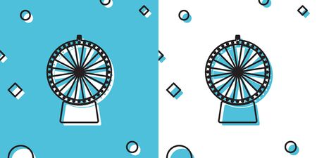 Black Lucky wheel icon isolated on blue and white background. Random dynamic shapes. Vector Illustration