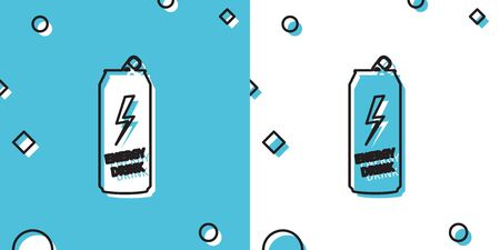 Black Energy drink icon isolated on blue and white background. Random dynamic shapes. Vector Illustration