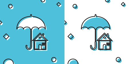 Black House with umbrella icon isolated on blue and white background. Real estate insurance symbol. Protection, safety, security, protect, defense concept. Random dynamic shapes. Vector Illustration Ilustração