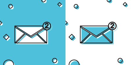 Black Envelope icon isolated on blue and white background. Received message concept. New, email incoming message, sms. Mail delivery service. Random dynamic shapes. Vector Illustration