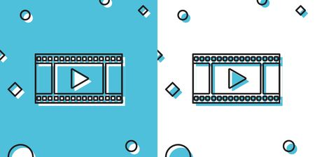 Black Play Video icon isolated on blue and white background. Film strip with play sign. Random dynamic shapes. Vector Illustration Ilustração