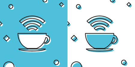 Black Cup of coffee shop with free wifi zone icon isolated on blue and white background. Internet connection placard. Random dynamic shapes. Vector Illustration Ilustração