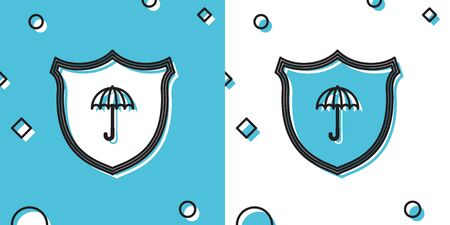 Black Waterproof icon isolated on blue and white background. Shield and umbrella. Water protection sign. Water resistant symbol. Random dynamic shapes. Vector Illustration