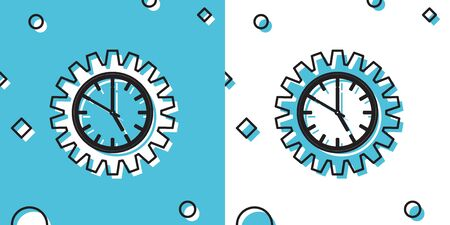 Black Time Management icon isolated on blue and white background. Clock and gear sign. Productivity symbol. Random dynamic shapes. Vector Illustration