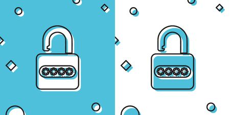 Black Password protection and safety access icon isolated on blue and white background. Lock icon. Security, safety, protection, privacy concept. Random dynamic shapes. Vector Illustration