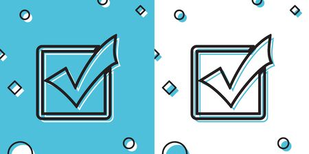 Black Check mark in a box line icon isolated on blue and white background. Tick symbol. Check list button sign. Random dynamic shapes. Vector Illustration