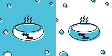 Black Bowl of hot soup icon isolated on blue and white background. Random dynamic shapes. Vector Illustration