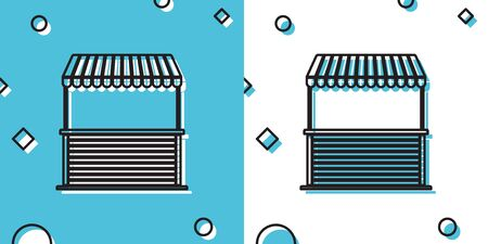 Black Street stall with awning and wooden rack icon isolated on blue and white background. Kiosk with wooden rack. Random dynamic shapes. Vector Illustration Ilustração