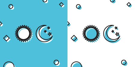 Black Sun and moon icon isolated on blue and white background. Weather daytime and night. Random dynamic shapes. Vector Illustration