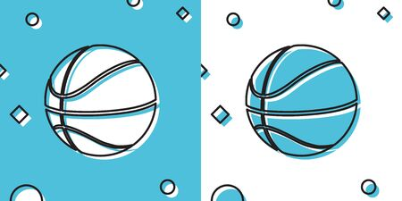 Black Basketball ball icon isolated on blue and white background. Sport symbol. Random dynamic shapes. Vector Illustration