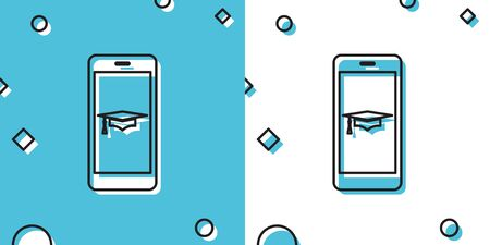 Black Graduation cap and smartphone icon. Online learning or e-learning concept icon isolated on blue and white background. Random dynamic shapes. Vector Illustration