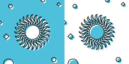 Black Sun icon isolated on blue and white background. Random dynamic shapes. Vector Illustration
