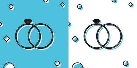 Black Wedding rings icon isolated on blue and white background. Bride and groom jewelery sign. Marriage icon. Diamond ring. Random dynamic shapes. Vector Illustration Illustration